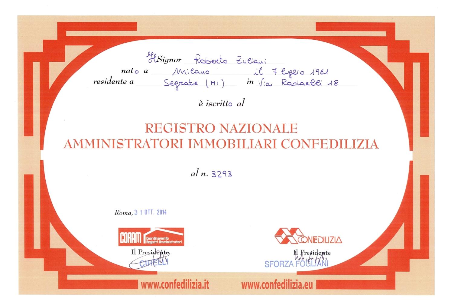 Iscrizione Registro Amministratori Confedelizia