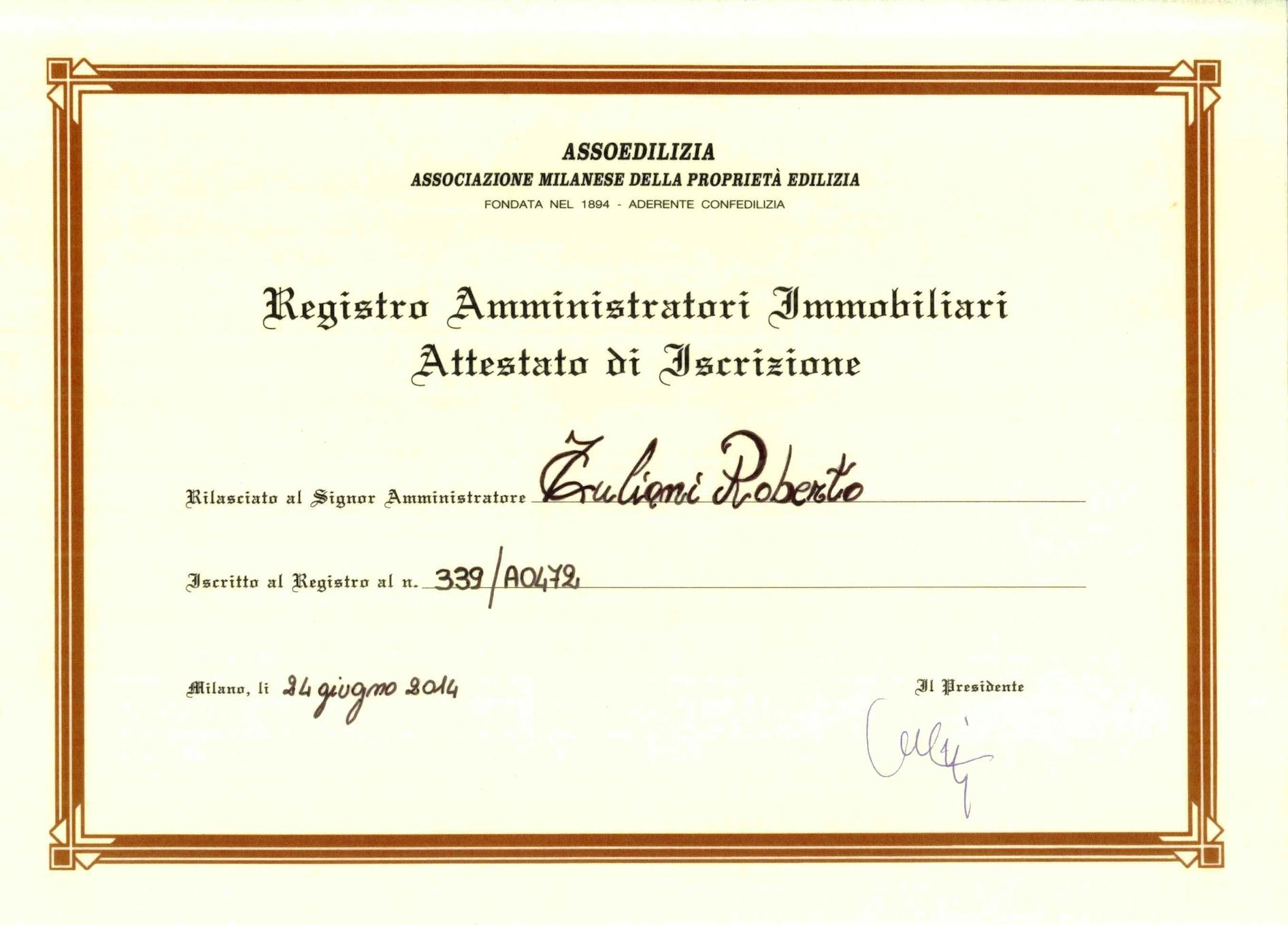 Iscrizione Registro Amministratori Immobiliari